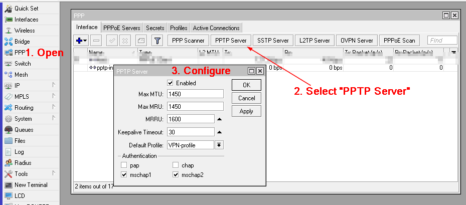Connecting PPTP on MikroTik 6